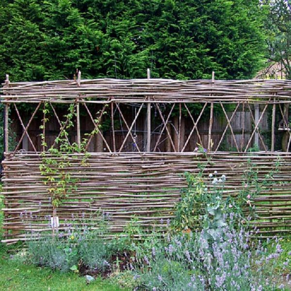 A short continuous weave wattle fence containing medieval style windows. By Tim Radford. burwashwonderwood.com