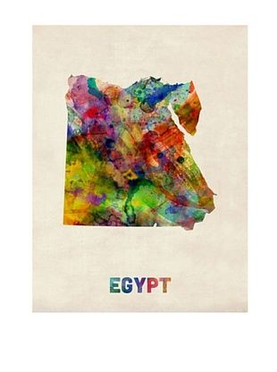 56% OFF Trademark Fine Art Egypt Watercolor Map by Michael Tompsett