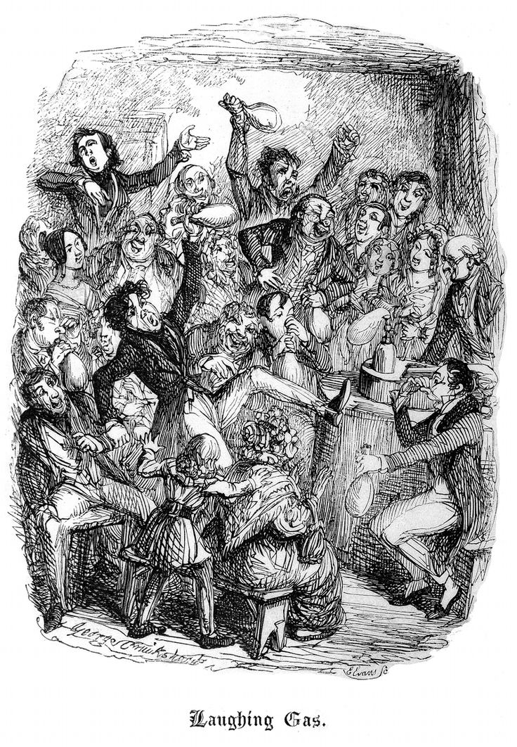 'Laughing Gas' by George Cruikshank, from John Scoffern's Chemistry No Mystery (1839)
