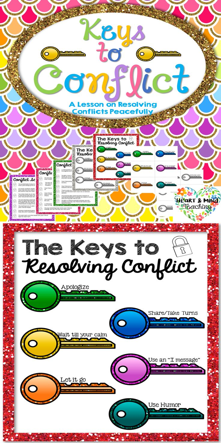 Students will learn the 6 keys to conflict (ways to resolve conflict) and will listen to different conflicts and decide which key to conflict they would use. Great for students who are struggling to make and keep friends, social emotional learning, conflict resolution mediation skills, social skills.