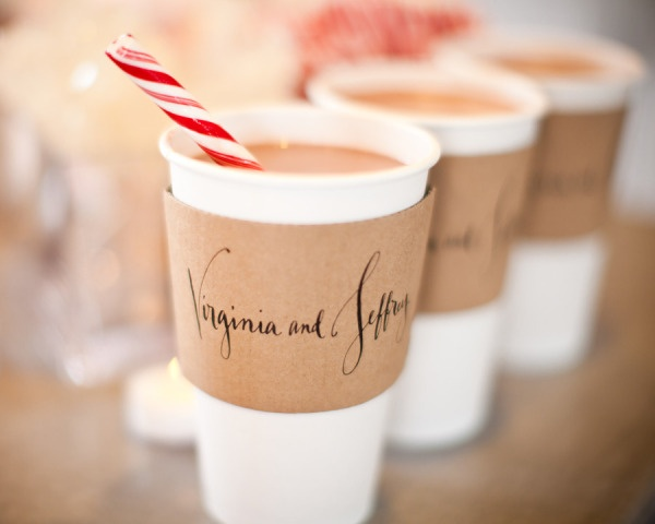 Peppermint hot chocolate served in personalized sleeves.