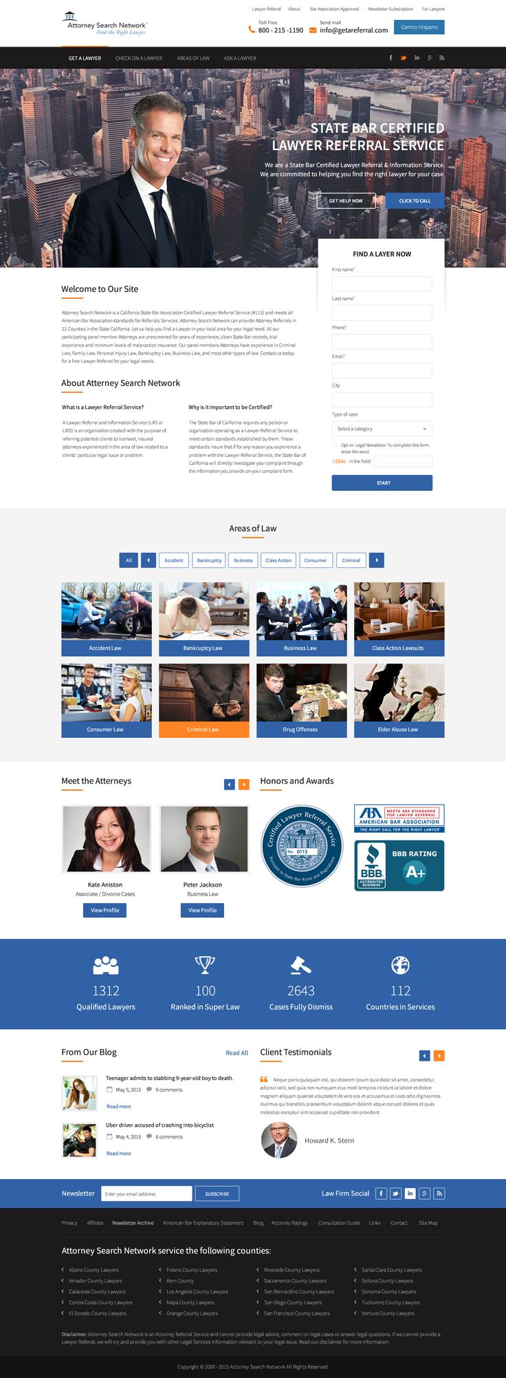 Website Design fr Attorney Search Network