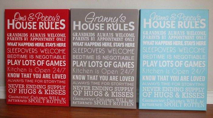 Grandparents' House Rules Canvas for Mum