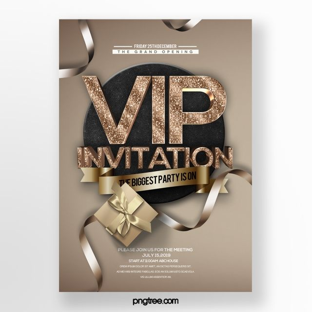 Simple And Stylish Luxury Golden Brown Effect Vip Invitation