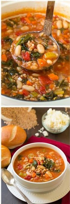 Kale Cannellini and Farro Stew with Feta - this is one of my new favorite soups! It is so hearty and so healthy!