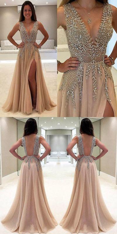 v-neck long champagne tulle beaded side slit formal long prom Dress, BD1399 from lovebridal