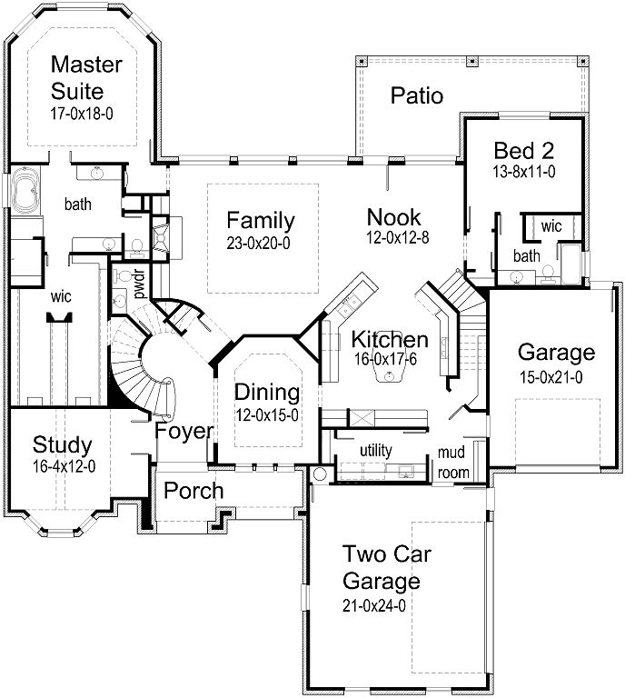 YES YES YES - it has a circle staircase!!! I WANT THIS ONE!!!  House Plans by Korel Home Designs