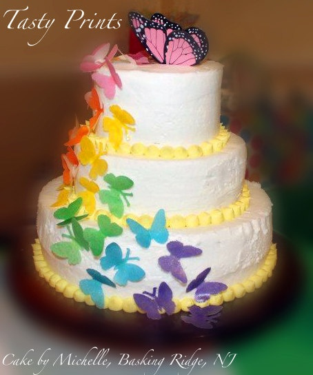 Vintage Rainbow Cake Decoration Edible : 17 Best images about Butterfly on Pinterest Edible cake ...