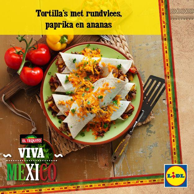 Recept voor Tortilla's met rundvlees, paprika en ananas #Mexicaans #Tortilla #Lidl