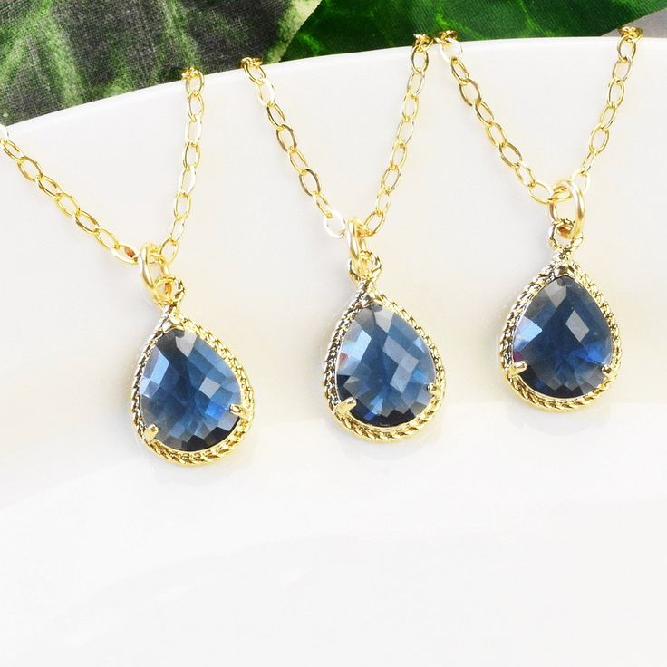 Navy Necklace SET OF 3 - 5% OFF Bridesmaid Jewelry Set - Sapphire Blue Bridesmaid Necklace - Teardrop Necklace - Gold Blue Glass Pendant by MyDistinctDesigns on Etsy