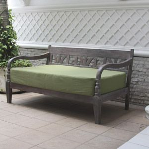 Indonesian Outdoor Daybed, Gray With Green Cushion. For Patio   $299.99    AMAZING.