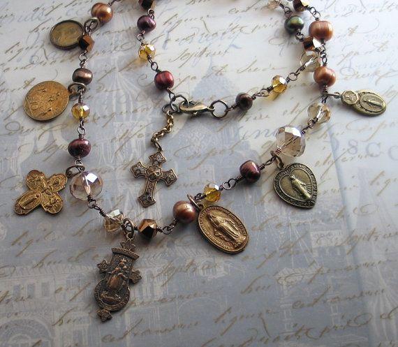 Religious Jewelry  Vintage Catholic Saint Medals by LoreleiDesigns