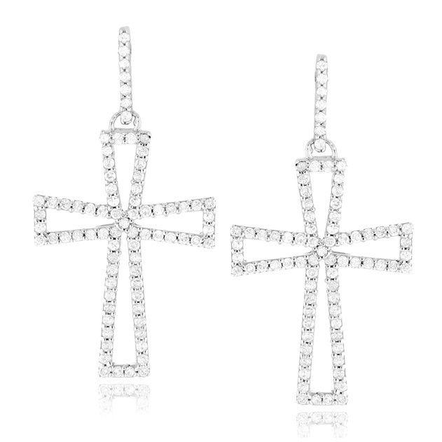 Luxurman 14k Gold 7/8ct TDW Diamond Cross Earrings