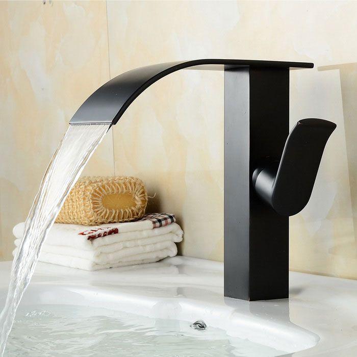 samtida olja gnuggade mässing vattenfall badrum handfat kran - svart