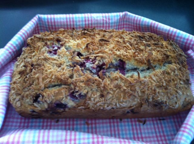 Raspberry and coconut loaf