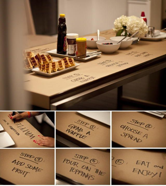 Delightful Kraft Paper Table Covering Ideas U2014 Waffle Bar Party Idea. Write Out The  Steps For