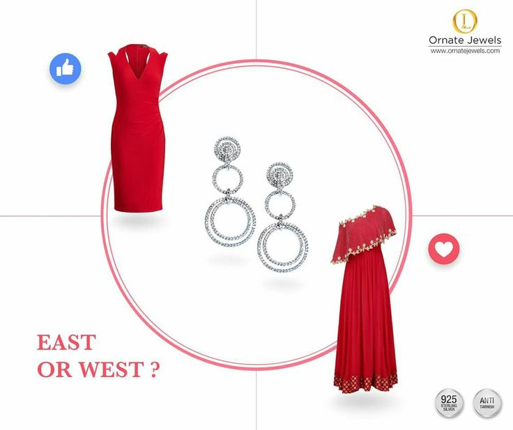 East or west, which dress looks the best? Cocktail Dress - 👍, Traditional outfit - ❤️ Leave your comments below! Buy these beautiful Chandelier Earring at www.ornatejewels.com  #OrnateJewels #SilverJewellery #CocktailDresses #IndianOutfits #ChandelierEarrings #DiamondEarrings #925Sterling