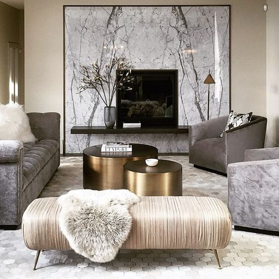 opulent marble and gold living room Love the marble, looks like a window to a forest