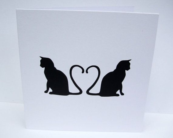Cat Valentine's Card  Valentine's Day Card  Paper by Nikelcards