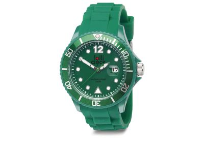 Green Lolliclock watch with date. 44mm Polycarbonite case and silicon  strap, printing dial up index, 5ATM 3 hands date movement PC32. Buy online at www.lolliclock.com.au