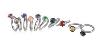 Ring kleiner Blumentopf in Edelstahl mit farbenfrohen Steinen