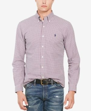 Polo Ralph Lauren Men's Slim-Fit Tattersall Shirt - Red/Blue XXL