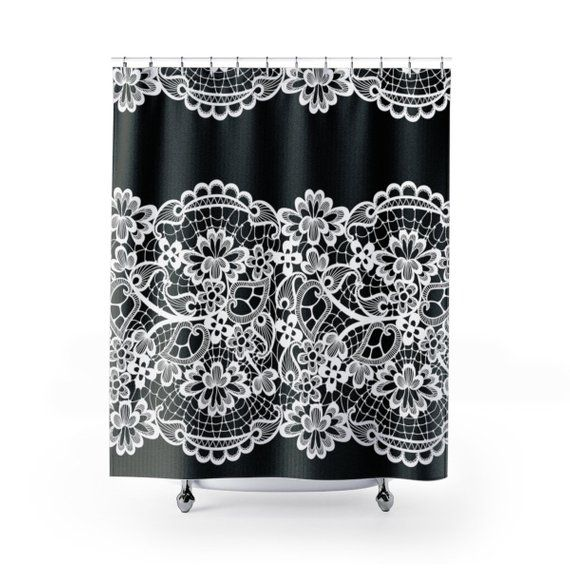 Lace Shower Curtain Black Shower Curtain Housewares Bathroom