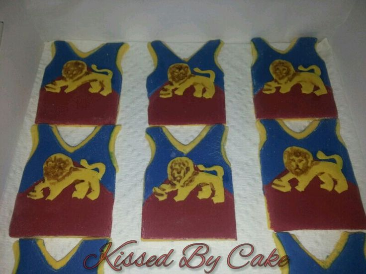 Brisbane Lions cupcake toppers ready to go
