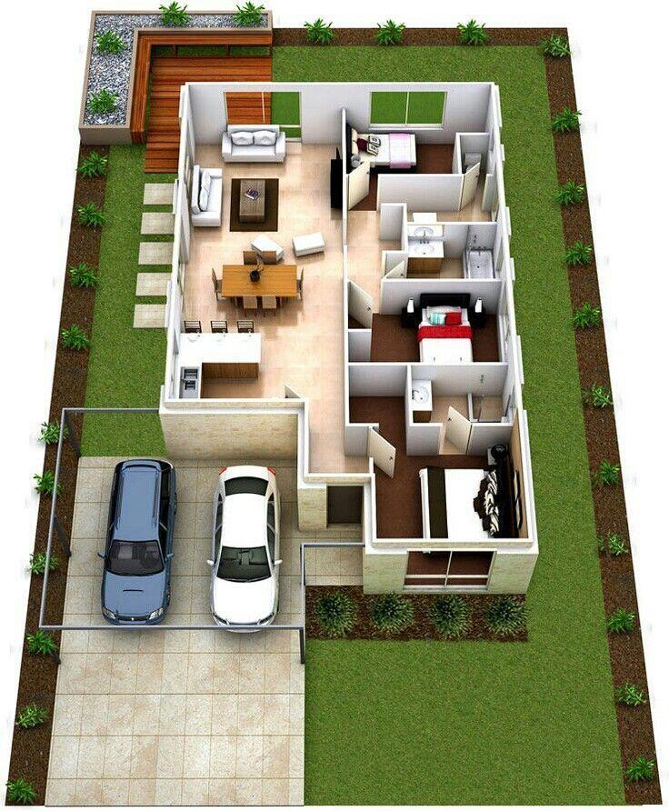 Casa de 3 quartos #casasminimalistaschicas