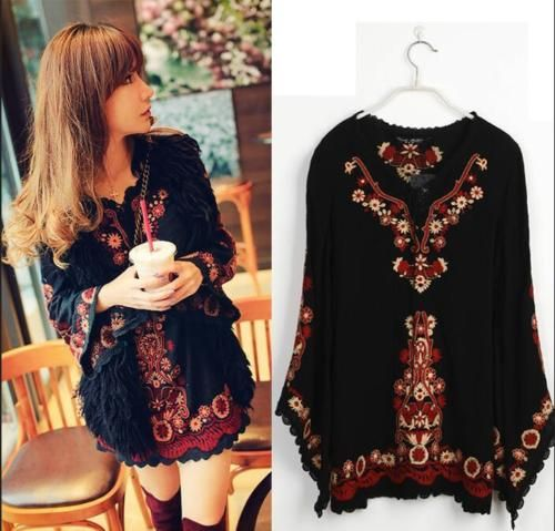 Women Peasant Ethnic Embroidered Floral Boho Top Tunic Mexican Gypsy Mini  Dress. Vintage EmbroideryBohemiaMexicanFashion ...