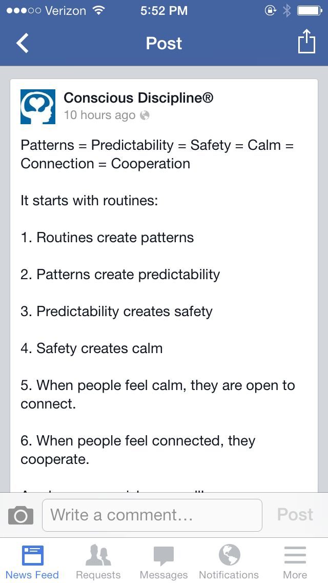 Saw this today in my Facebook feed. I love this program, conscious discipline and love this concise post.