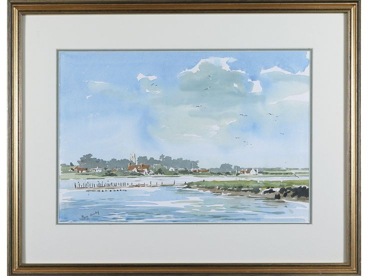 'Suffolk Estuary Landscape' by Mary Gundry. Original signed & framed watercolour. #SOLD