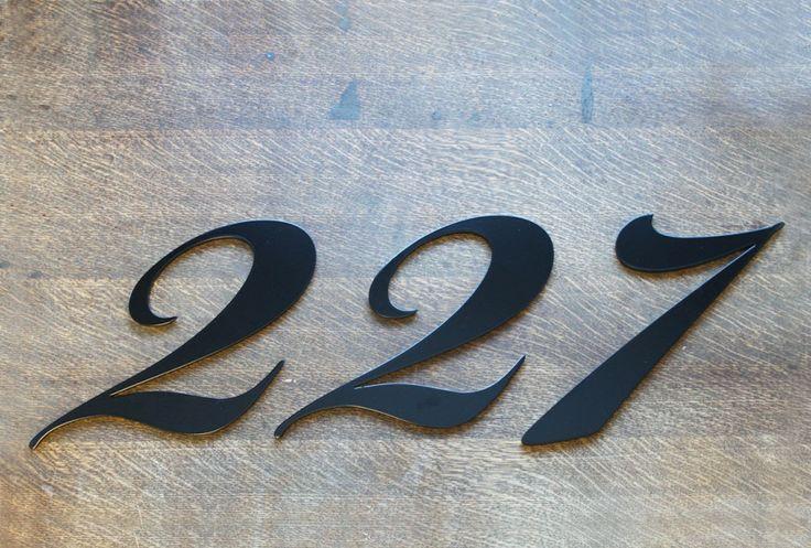 Modern house numbers. Custom Font. Made by Remnant Steel.   www.remnantsteel.com