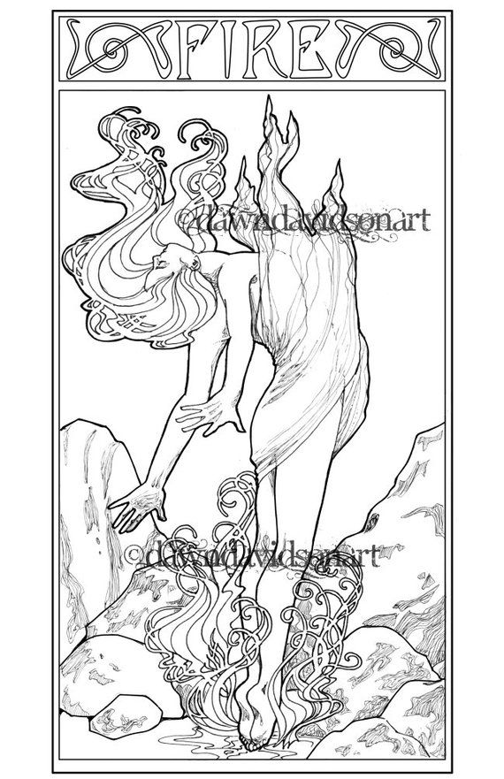 Spirit of Fire, Adult Coloring, Coloring Page, Fantasy Coloring, Line Art, Art Nouveau Coloring Page – Kim van Goldie