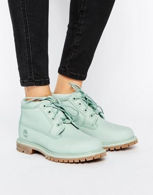 Timberland Nellie Chukka Double Mint Green Lace Up Flat Boots