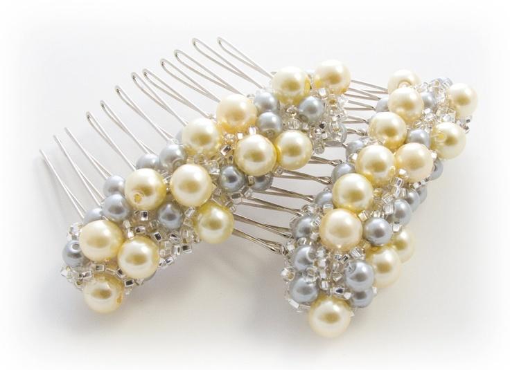 Yellow and Gray Beaded Pearl Hair Combs, Canary Yellow Wedding, Bridesmaid Hair Accessories, Bridesmaid Gifts, Yellow Grey Hair Clips. $30.00, via Etsy.