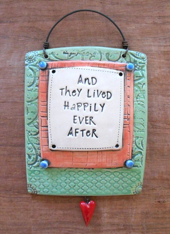 green ceramic wall plaque with wire and they lived happily ever after by mbwstudio. Black Bedroom Furniture Sets. Home Design Ideas