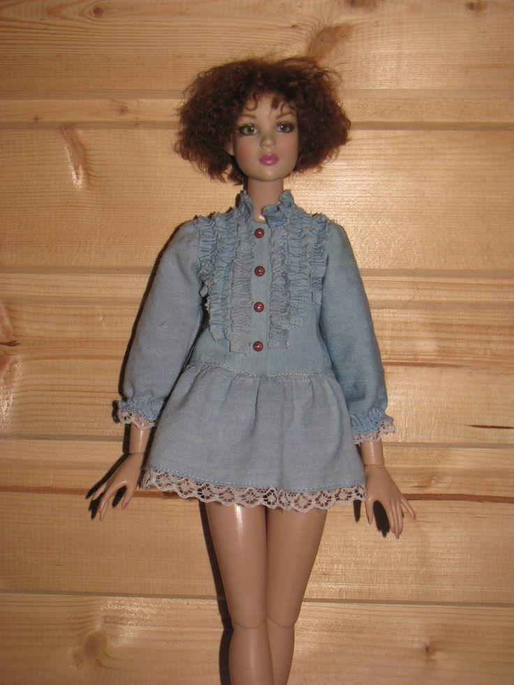 "Fashion doll clothes Denim short dress  for  women Tonner 16""/MiniFee by NatZayShop on Etsy"