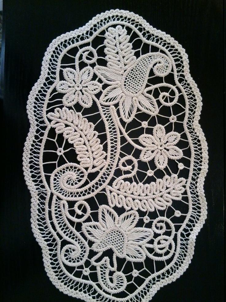 Doily Romanian Point Lace Style Crochet Doily IVORY Floral Pattern