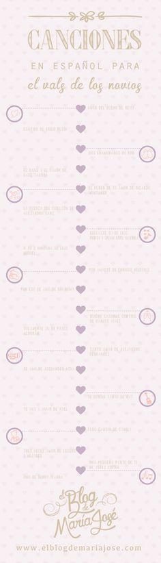Te presento una lista de canciones en español para el vals de los novios #bodas #ElBlogdeMaríaJosé #Cancionesboda #Músicaboda #infografía