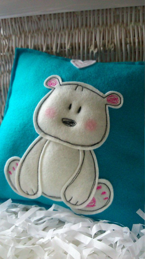 Little bear pillow made from pure wool felt by dudaridesign