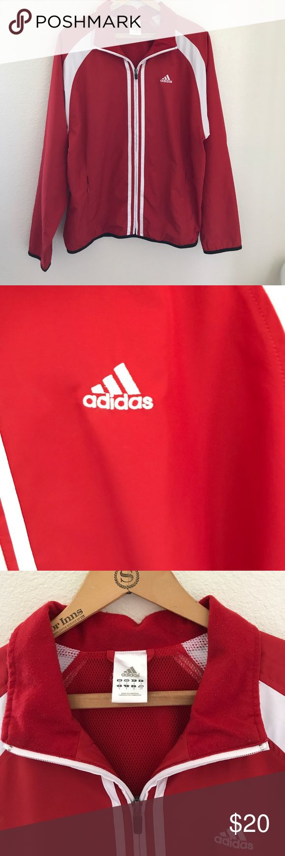 Mens red and white Adidas track jacket size small Mens red and white adidas track jacket size small. Great for even a woman. Has zippered front pockets and all zippers work really good. It has the windbreaker type material on the outside . adidas Jackets & Coats