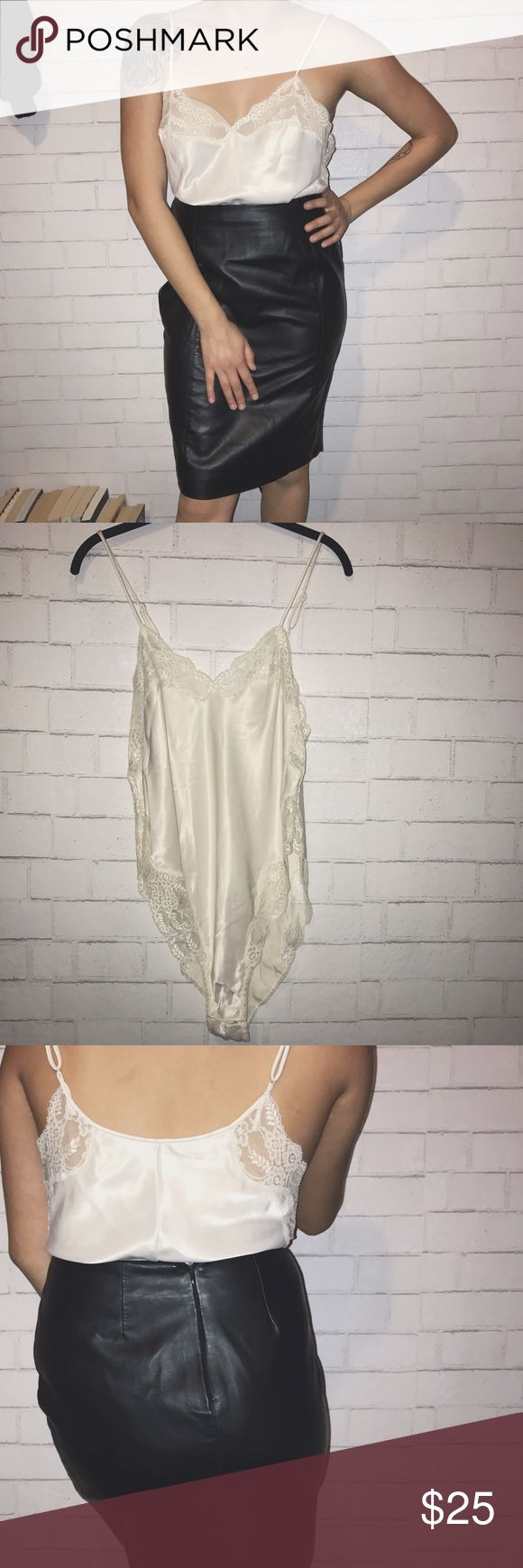 Vintage creme Victoria secret bodysuit lingerie In perfect condition , great to wear w/skirts or to sleep . Victoria's Secret Intimates & Sleepwear Chemises & Slips