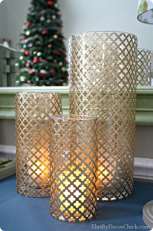 A beautiful, festive candle holder made out of a radiator sheet! #Christmas