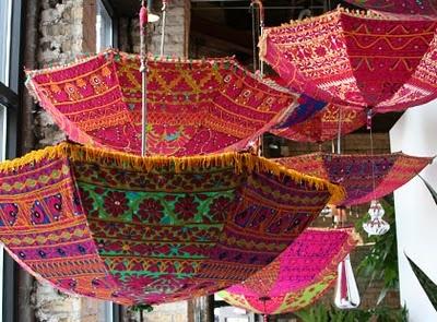 vintage sari umbrellas