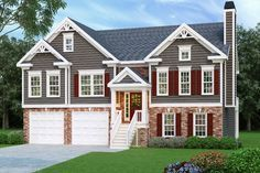 The Alexis house plan is a split foyer design with an unfinished basement foundation perfect for expansion. There are three bedrooms and two baths in two floors of living space comprised of approximately 1,678 square feet of space. The lovely exterior features a walk-up entrance, decorative gables, brickwork, horizontal siding and a front covered porch. …