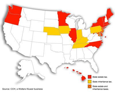 Where Not to Die In 2013 - state estate taxes (red) & state inheritance taxes (yellow)