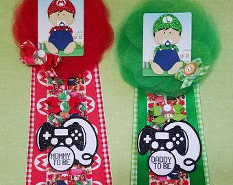 Mario Bros Baby Shower Corsage/ Mario and Luigi Baby Shower Pin/ Mommy To Be Pin/ Daddy To Be Pin/ Mario Baby Shower Theme/ Boy Baby Shower