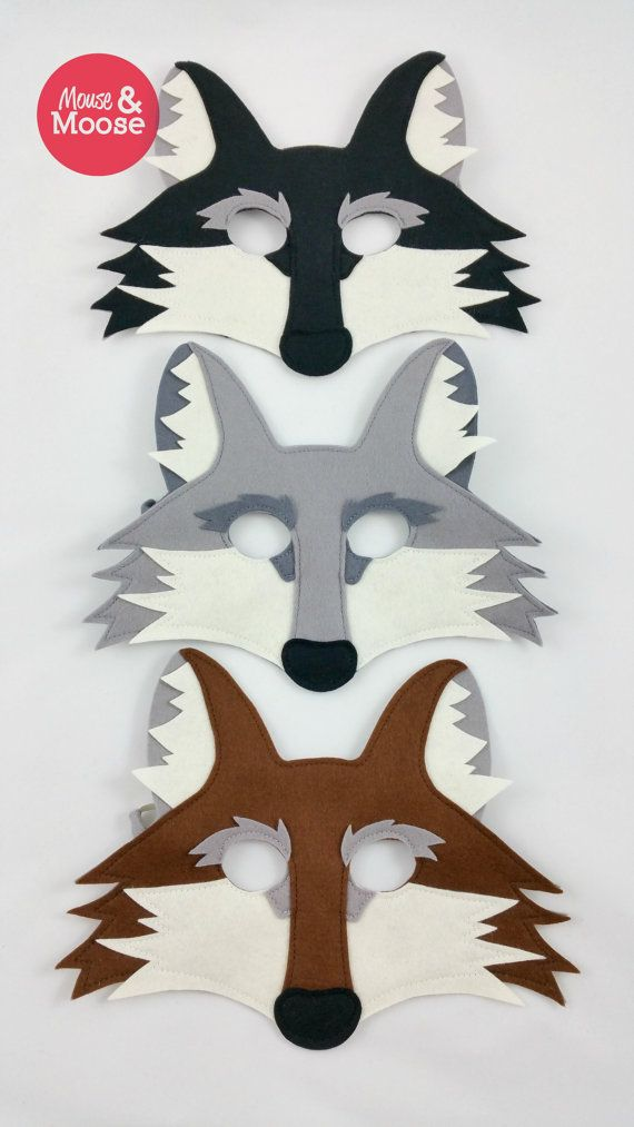 felt wolf mask or coyote mask for pretend play by mouse and moose