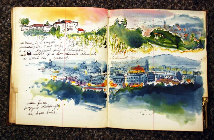 Travel sketching with watercolor. I love the layout, with text and double page and the vibrant color!